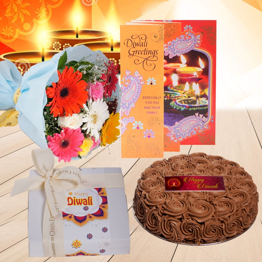Diwali Chocolate dutch truffle Swirls cake 500 gms, Diwali card , a bouquet of roses and gerbera and box of 9 chocolate pralines