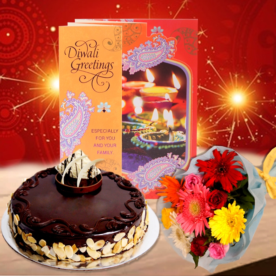 Diwali Dutch Truffle Almond cake eggless 500gms with Diwali  Card and Bouquet of mixed roses and gerberas