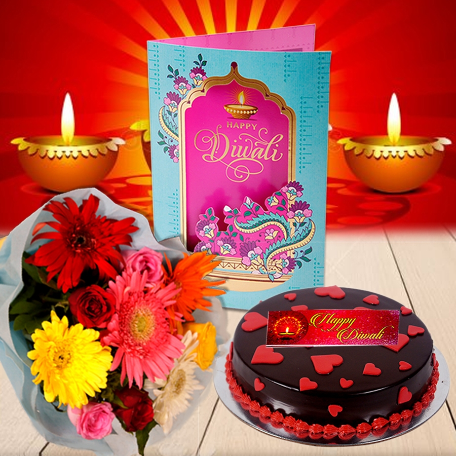Diwali Dutch Truffle love cake 500gms with Diwali Card and Bouquet of mixed roses and gerberas