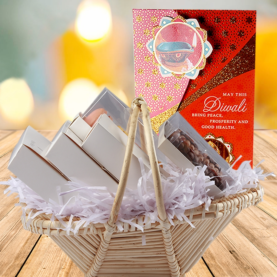 Diwali gift basket with card