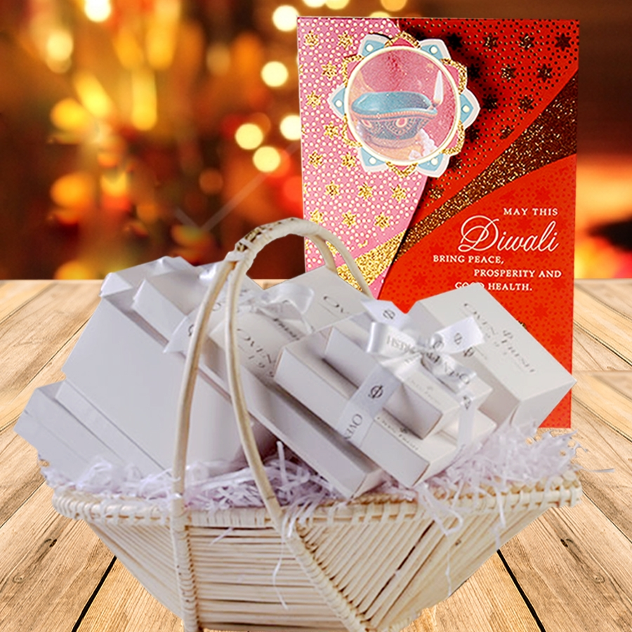 Diwali Gift Baskets eggless with card