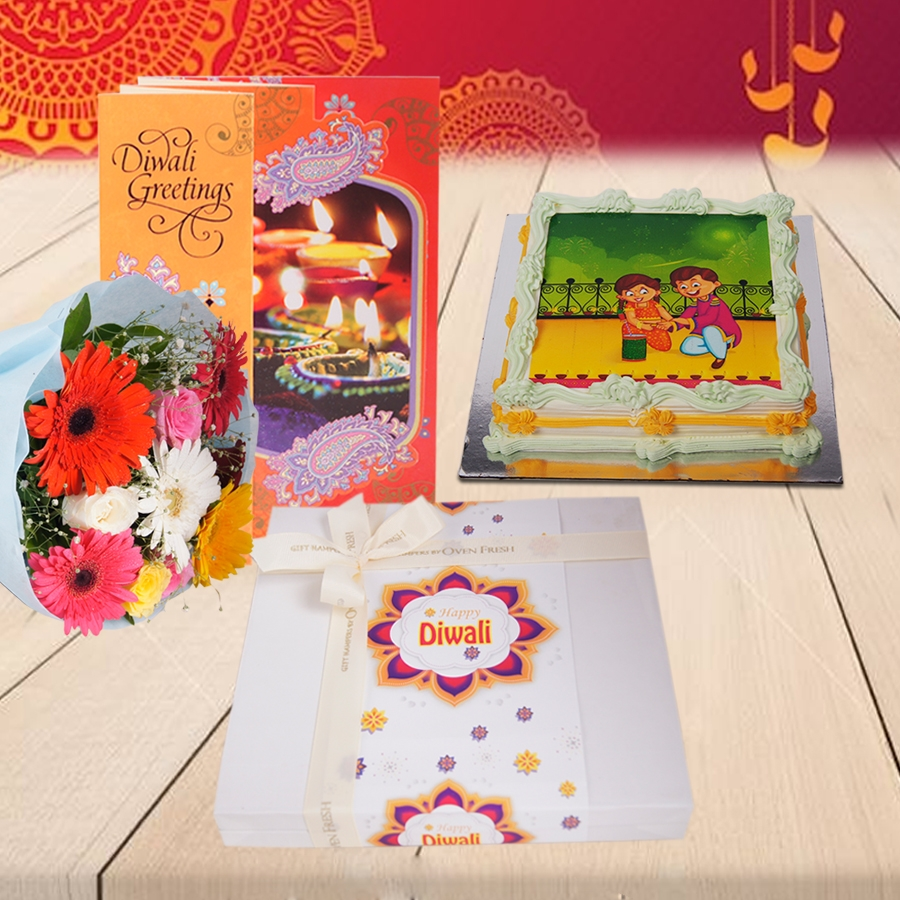 Diwali Green photo cake 500gms,diwali card and Bouquet of mixed roses and gerberas and Box of 24 chocolate pralines