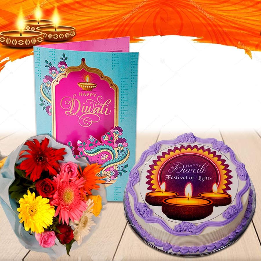 Diwali Purple photo cake eggless 500gms with Diwali  Card and Bouquet of mixed roses and gerberas