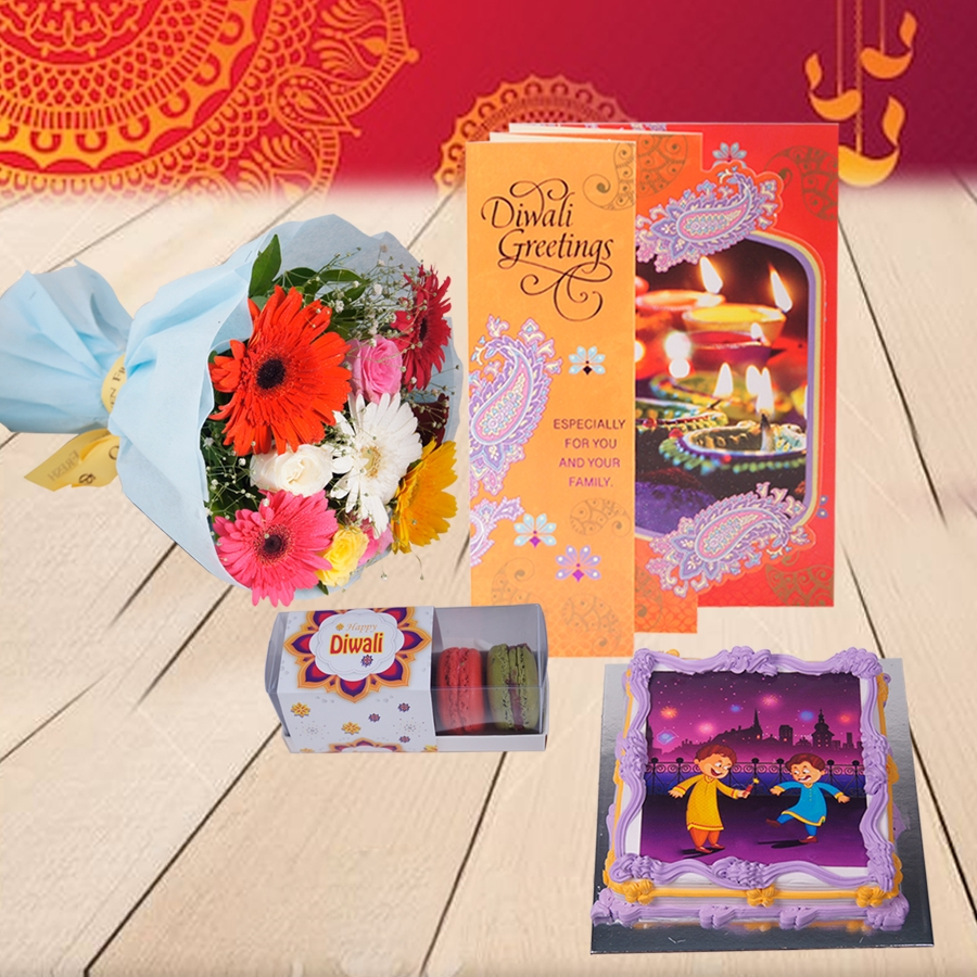 Diwali Sparkler photo cake 500gms,diwali card and Bouquet of mixed roses and gerberas and Box of 5 macarons