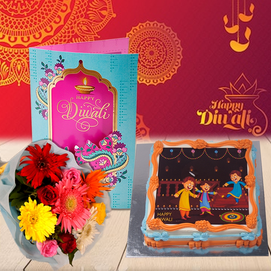Diwali Sqaure orange photo cake eggless 500gms with Diwali  Card and Bouquet of mixed roses and gerberas