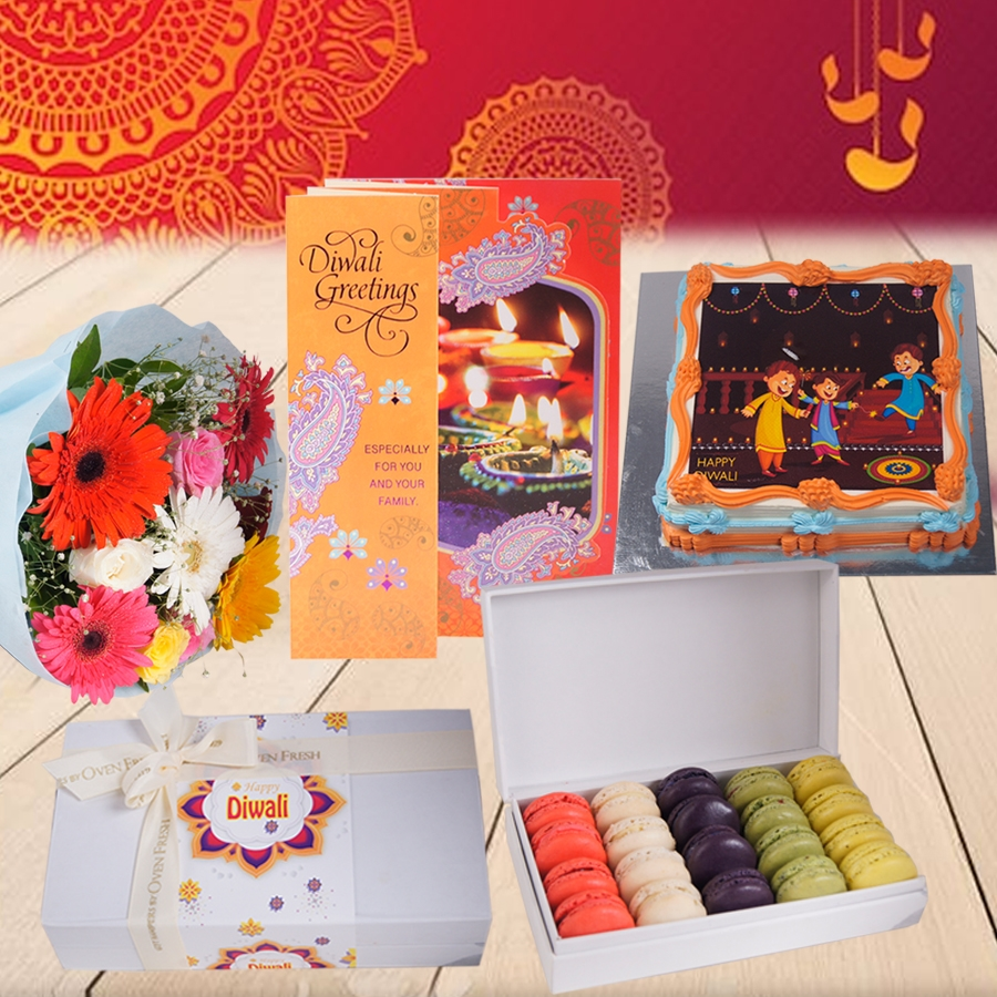 Diwali Square orange photo cake eggless 500gms with Diwali  Card and Bouquet of mixed roses and gerberas and Box of 20 macarons