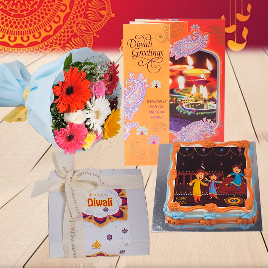 Diwali Square orange photo cake eggless 500gms with Diwali  Card and Bouquet of mixed roses and gerberas and Box of 9 chocolate pralines