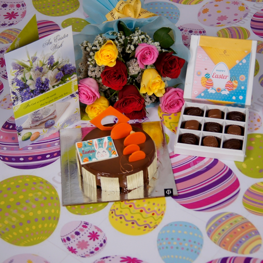 Easter Caramel Panacotta with Hazelnut Chocolate Mousse Cake- 500gms  with card & bouquet of 10 mix roses  & box of 9 chocolate pralines