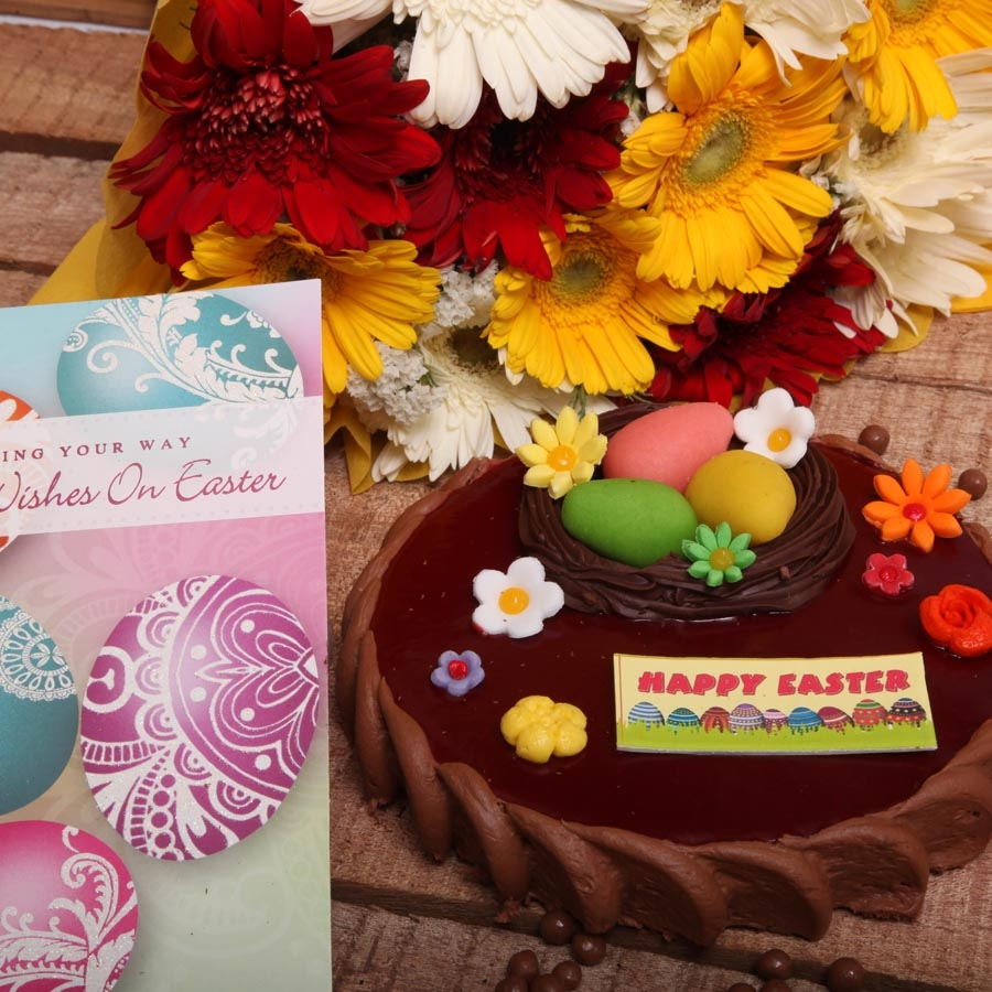 Easter Card with Chocolate Crousillant 500gms and hand bouquet