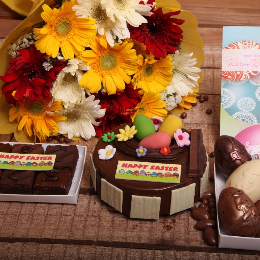 Easter Card with Crunchy Hazelnut 500gms , hand bouquet  ,Box of 2easter egg and  box of 6 brownies