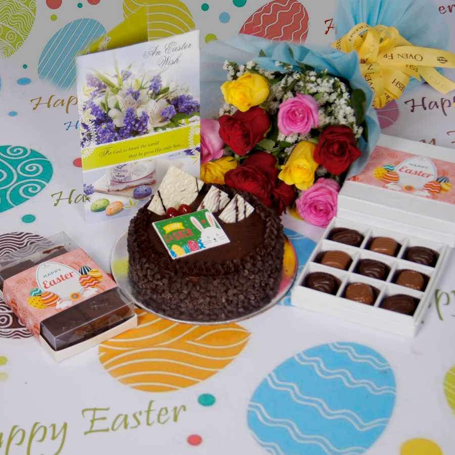 Easter Chocolate chip dutch truffle 500gms with card & bouquet of 10 mix roses & box of 9 chocolate pralines & box of 6pcs brownies
