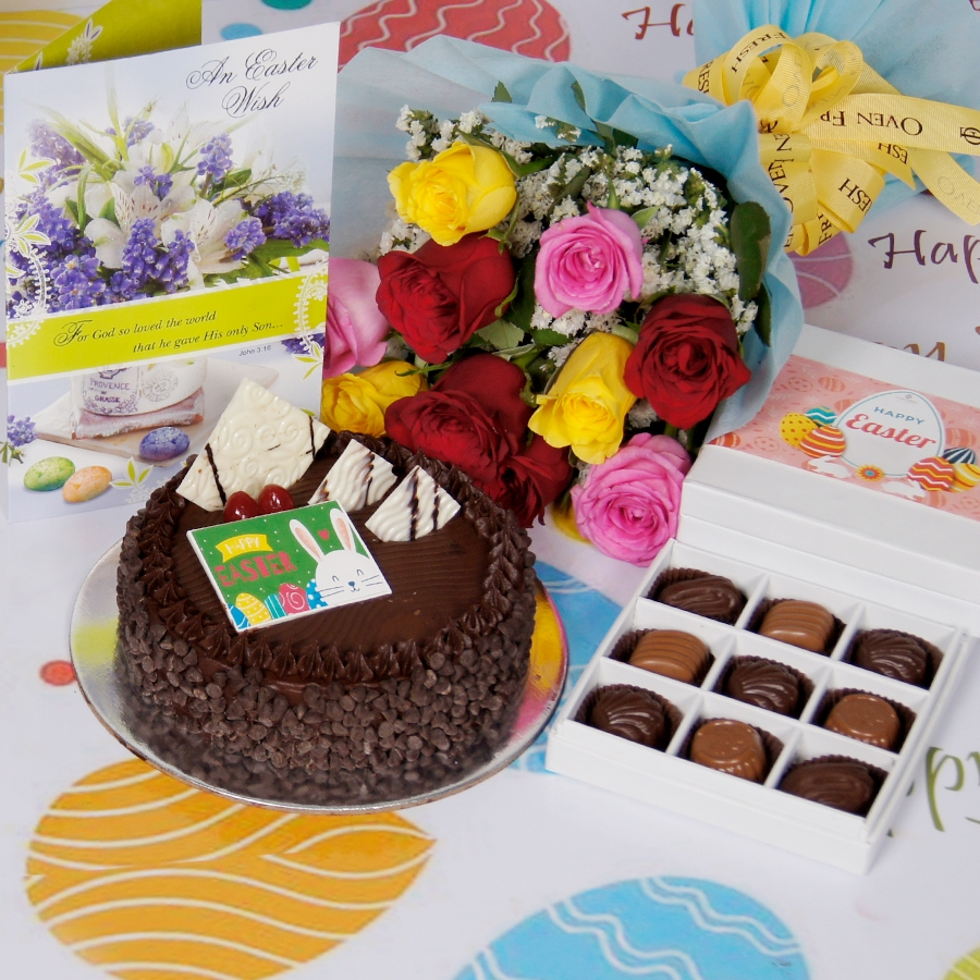 Easter Chocolate chip dutch truffle 500gms with card & bouquet of 10 mix roses & box of 9 chocolate pralines