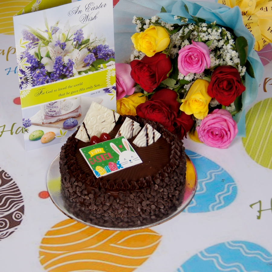 Easter Chocolate chip dutch truffle 500gms with card & bouquet of 10 mix roses