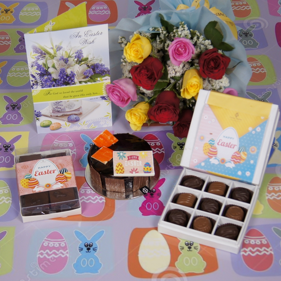 Easter chocolate Dutch Truffle 250 gms with card & bouquet of 10 mix roses& box of 9 chocolate pralines& box of 6pc brownies