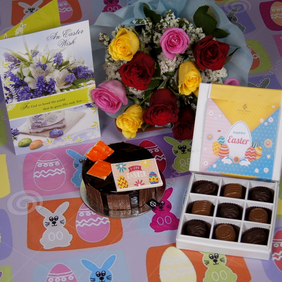 Easter chocolate Dutch Truffle 250 gms with card & bouquet of 10 mix roses& box of 9 chocolate pralines