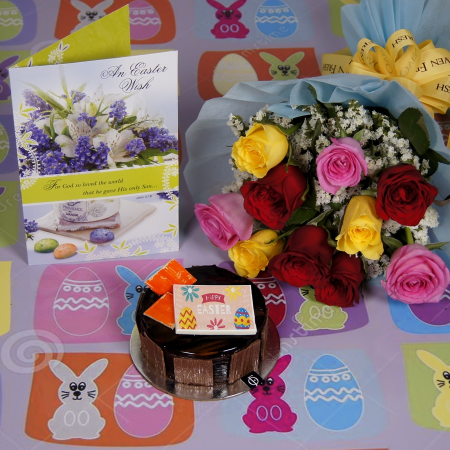 Easter chocolate Dutch Truffle 250 gms with card & bouquet of 10 mix roses