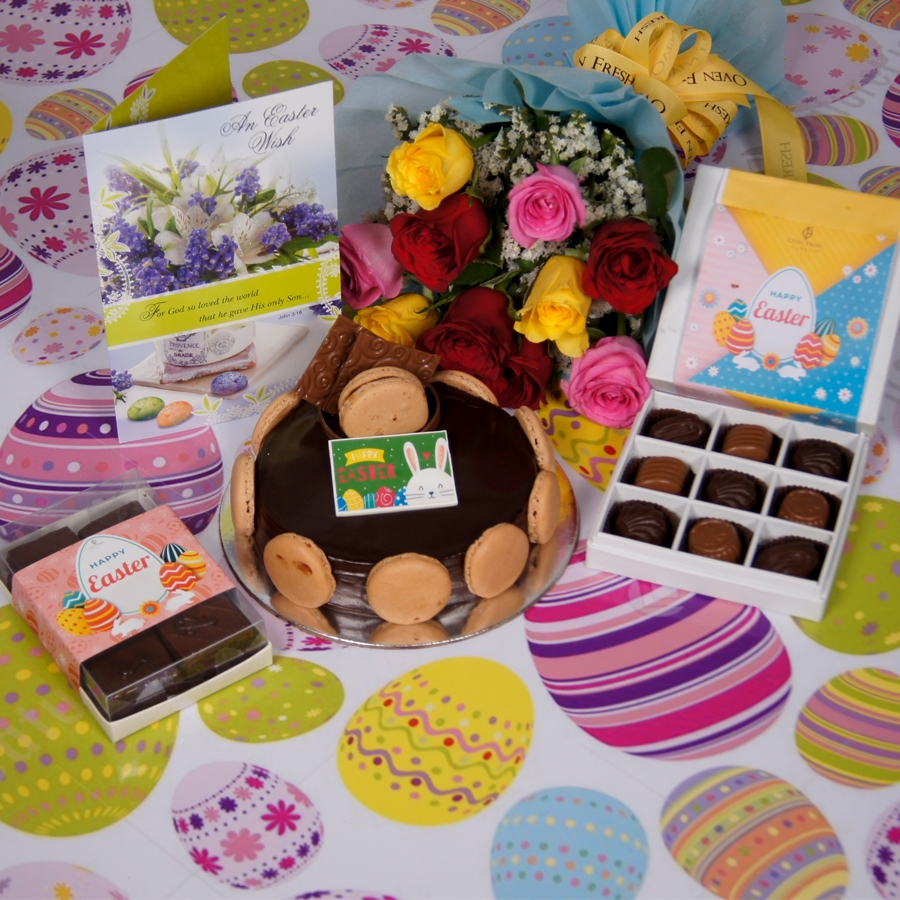 Easter Chocolate Dutch truffle Divine 500gms with card & bouquet of 10 mix roses & box of 9 chocolate pralines & box of 6pcs brownies