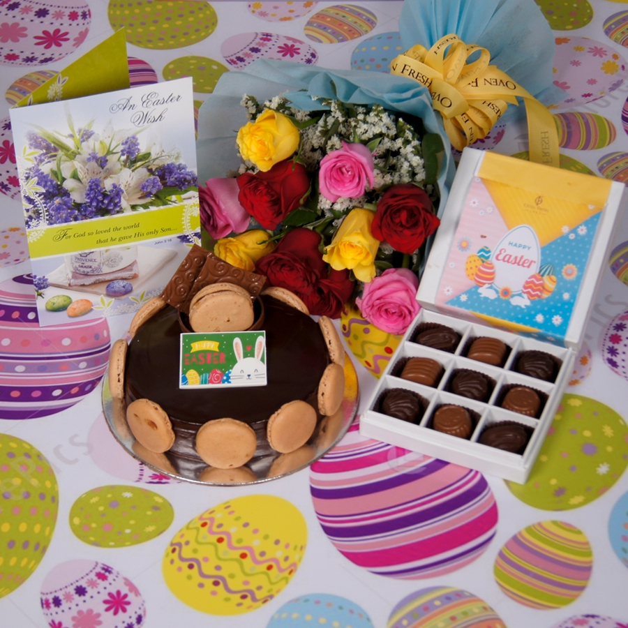 Easter Chocolate Dutch truffle Divine 500gms with card & bouquet of 10 mix roses & box of 9 chocolate pralines