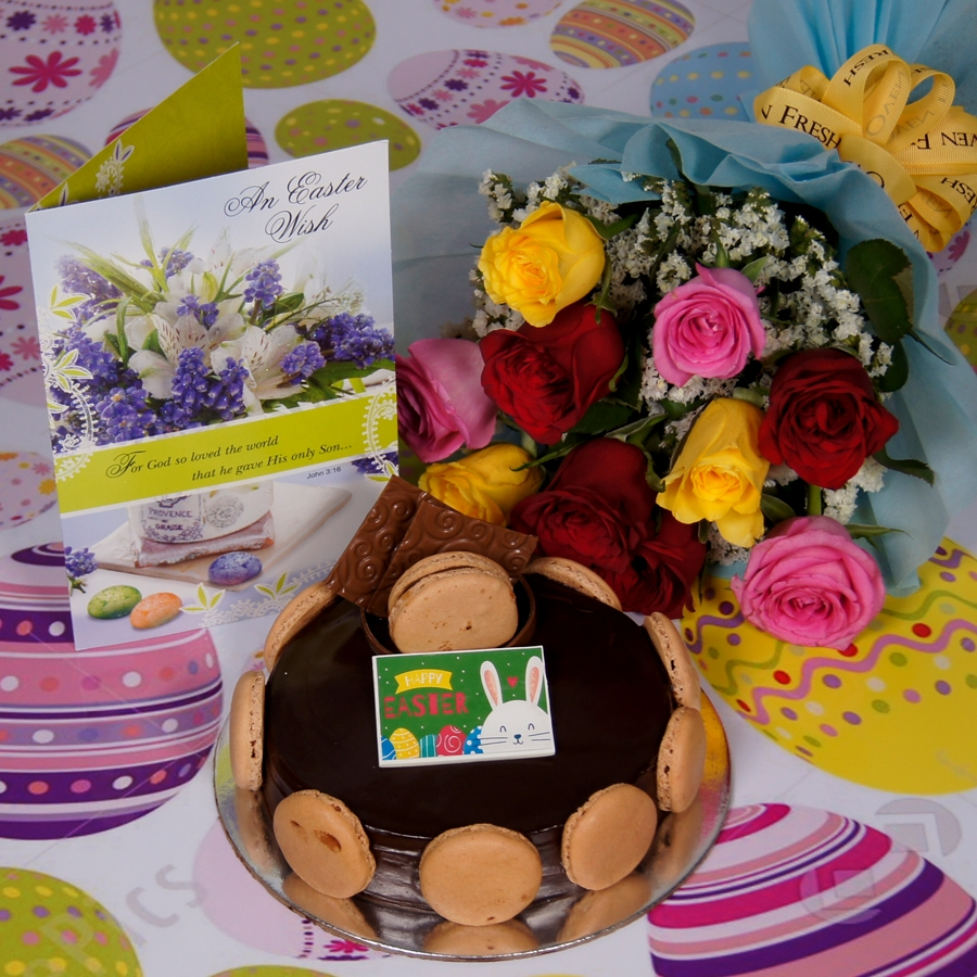Easter Chocolate Dutch truffle Divine 500gms with card & bouquet of 10 mix roses
