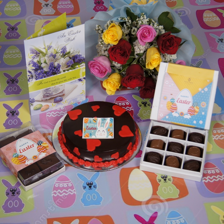Easter Chocolate dutch truffle love cake with card & bouquet of 10 mix roses& box of 9 chocolate pralines& box of 6pc brownies