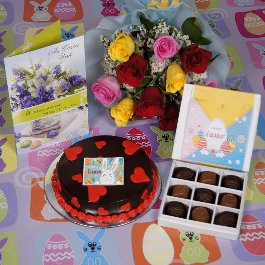 Easter Chocolate dutch truffle love cake with card & bouquet of 10 mix roses& box of 9 chocolate pralines