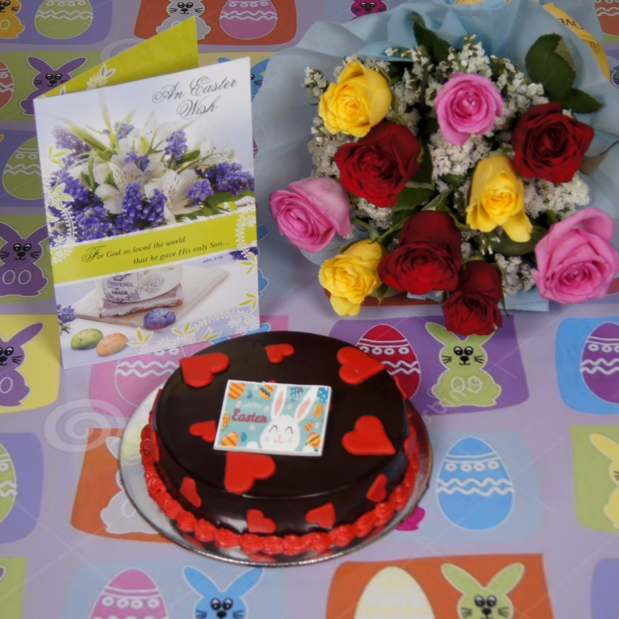 Easter Chocolate dutch truffle love cake with card & bouquet of 10 mix roses