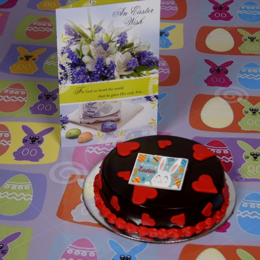 Easter Chocolate dutch truffle love cake with card
