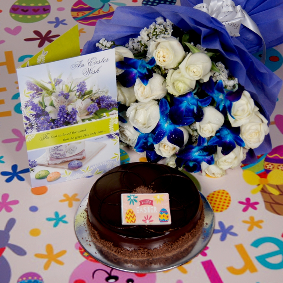 Easter Chocolate dutch truffle shine 500gms Eggless with card &  bouquet of white roses and blue orchids