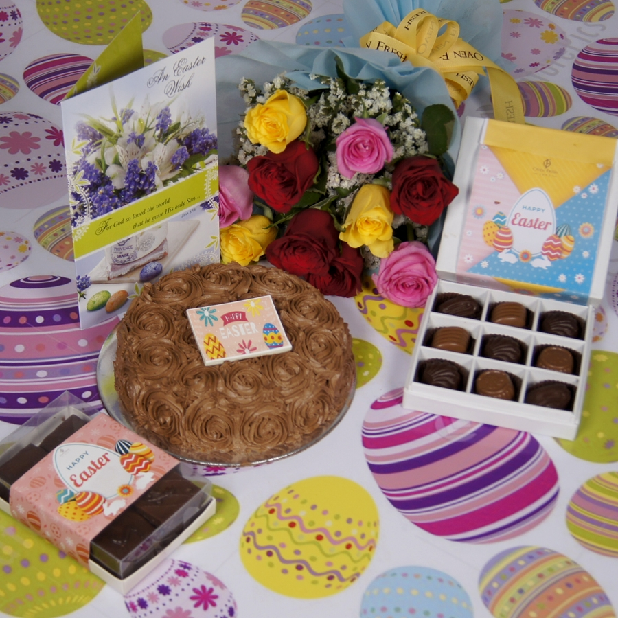 Easter Chocolate dutch truffle swirls 500gms with card & bouquet of 10 mix roses & box of 9 chocolate pralines & box of 6pcs brownies