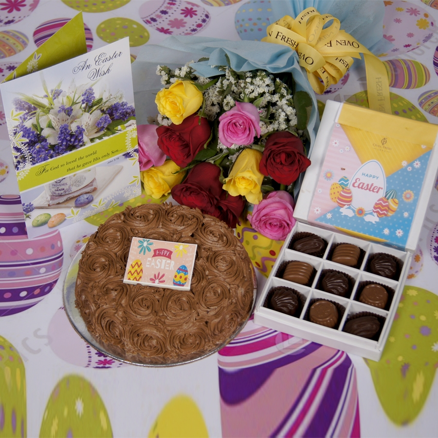 Easter Chocolate dutch truffle swirls 500gms with card & bouquet of 10 mix roses & box of 9 chocolate pralines