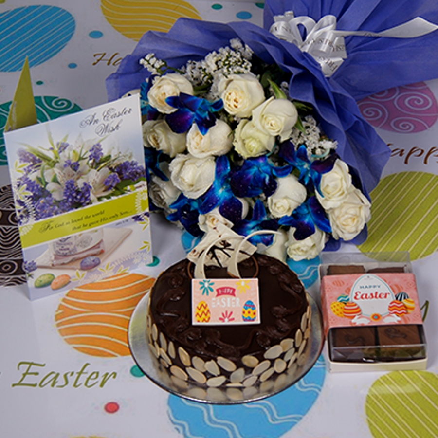 Easter Chocolate dutch truffle with almonds 500gms Eggless Eggless with Card & bouquet of  white roses and blue orchids & box of 6pc brownies