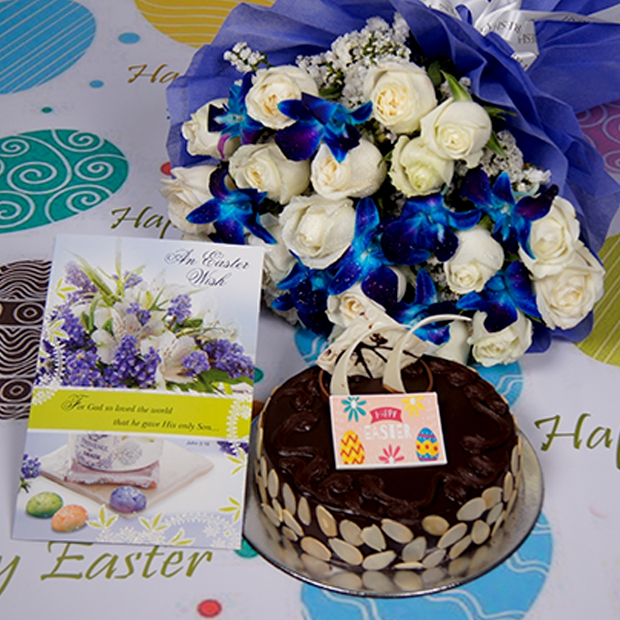 Easter Chocolate dutch truffle with almonds 500gms Eggless Eggless with Card & bouquet of  white roses and blue orchids
