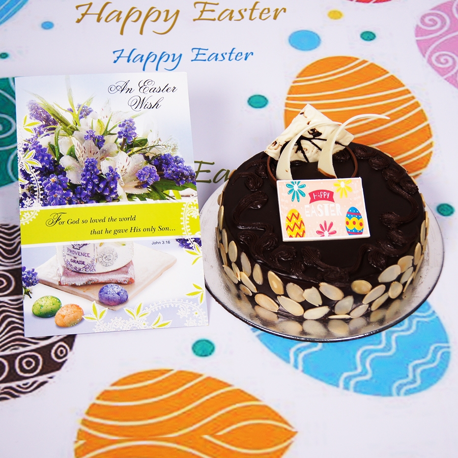 Easter Chocolate dutch truffle with almonds 500gms Eggless Eggless with Card