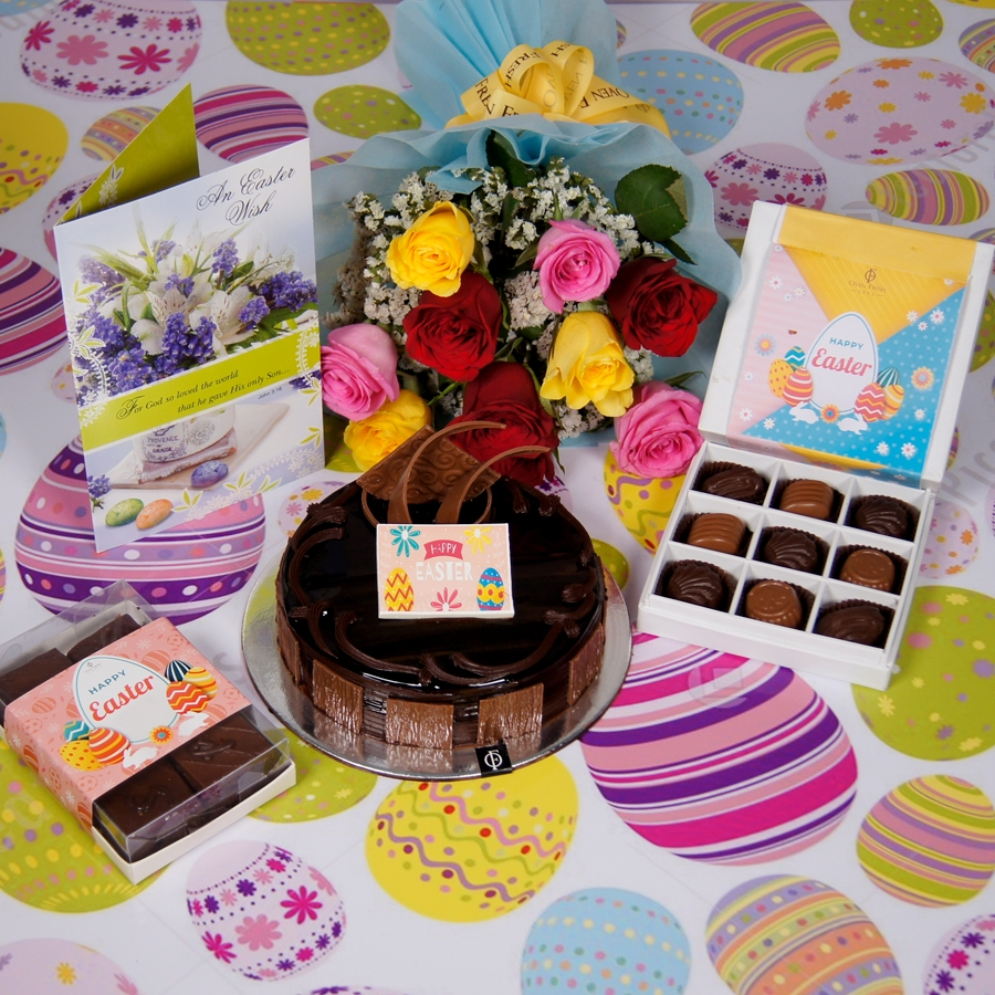Easter chocolate dutch truffle 500gms with card & bouquet of 10 mix roses & box of 9 chocolate pralines &  box of 6pcs brownies