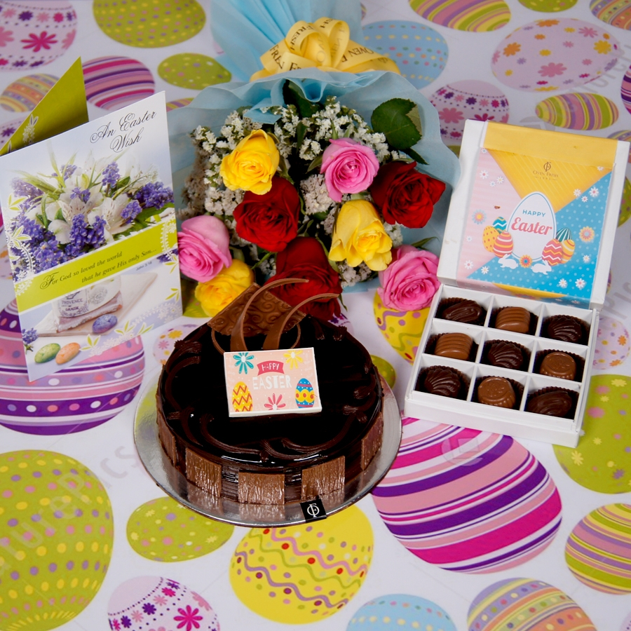 Easter chocolate dutch truffle 500gms with card &  bouquet of 10 mix roses &  box of 9 chocolate pralines