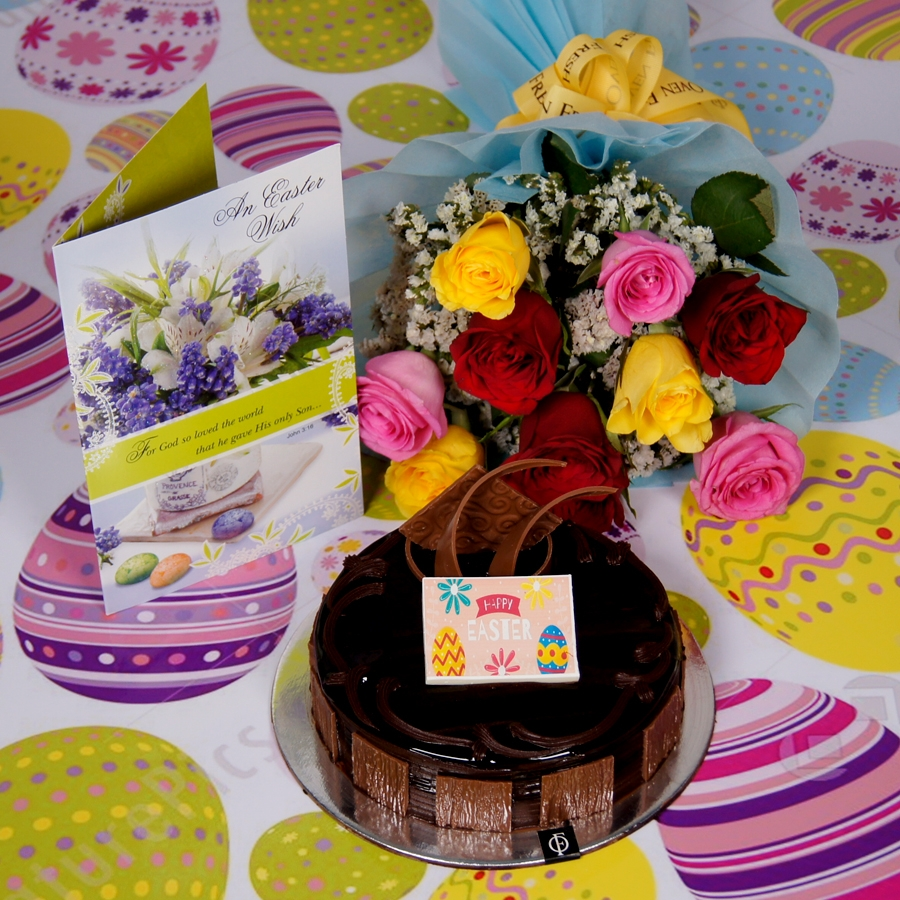 Easter chocolate dutch truffle 500gms with card & bouquet of 10 mix roses