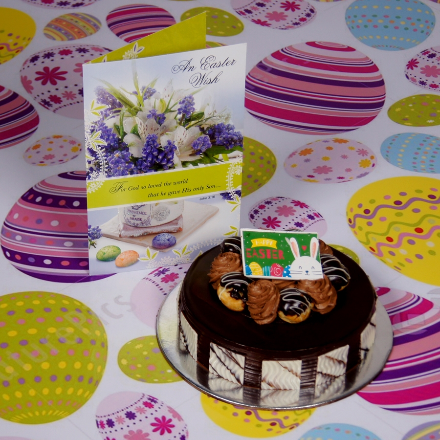 Easter Chocolate dutch truffle with choux buns 500gms Contains Egg with Card
