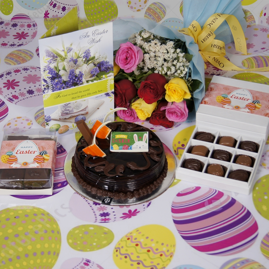 Easter Chocolate KitKat cake  500gms with card & bouquet of 10 mix roses  & box of 9 chocolate pralines & box of 6pcs brownies