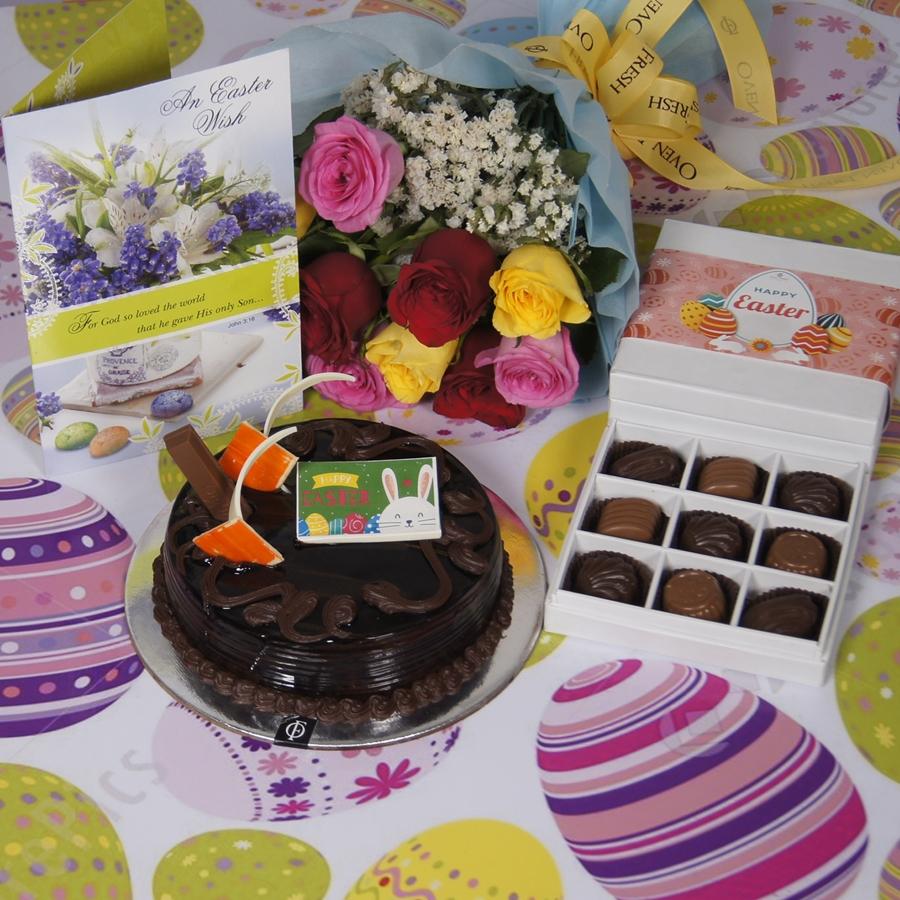 Easter Chocolate KitKat cake  500gms with card & bouquet of 10 mix roses  & box of 9 chocolate pralines