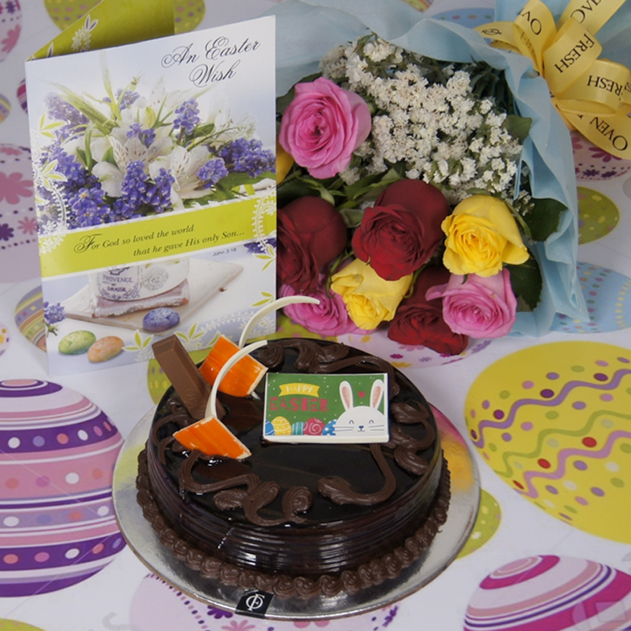 Easter Chocolate KitKat cake  500gms with card & bouquet of 10 mix roses