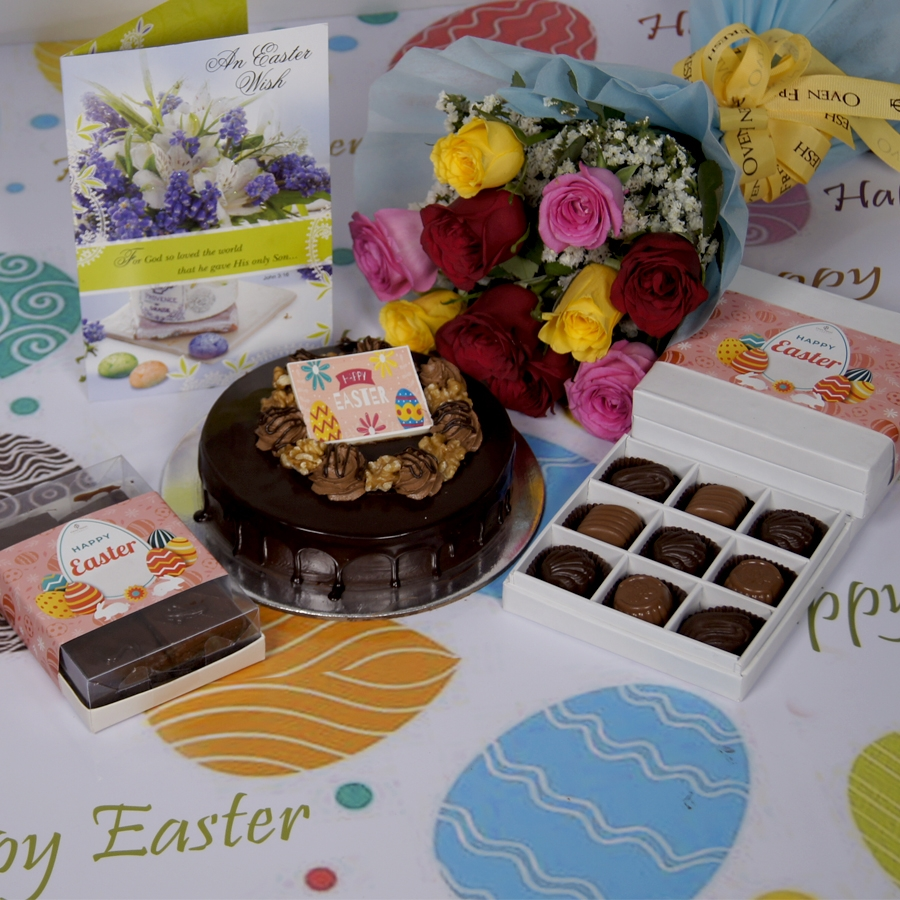 Easter Chocolate walnut dutch truffle 500gms with card & bouquet of 10 mix roses & box of 9 chocolate pralines  & box of 6pcs brownies