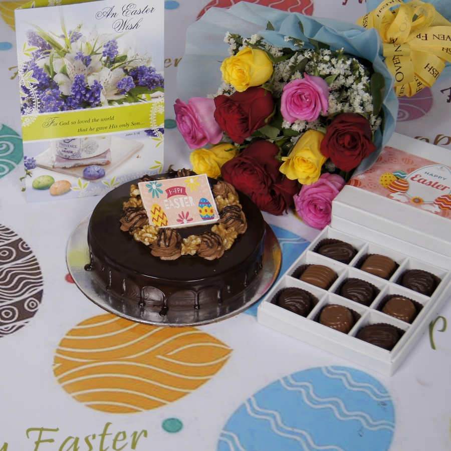 Easter Chocolate walnut dutch truffle 500gms with card & bouquet of 10 mix roses & box of 9 chocolate pralines
