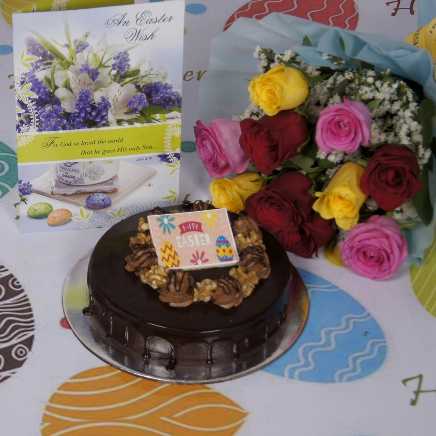 Easter Chocolate walnut dutch truffle 500gms with card & bouquet of 10 mix roses