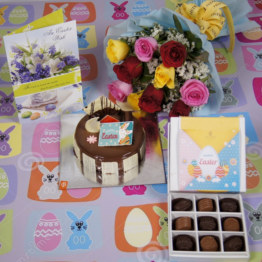Easter Crunchy Hazelnut with milk chocolate 500gms,9pcs chocolate pralines with card and bouquet of 10 mix roses
