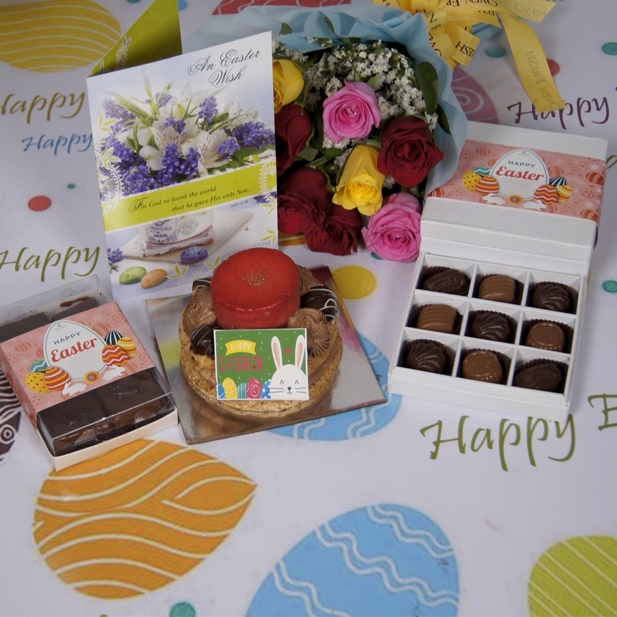Easter Desire 3(Contains Egg) 250gms with card & bouquet of 10 mix roses & box of 9 chocolate pralines & box of 6pcs brownies