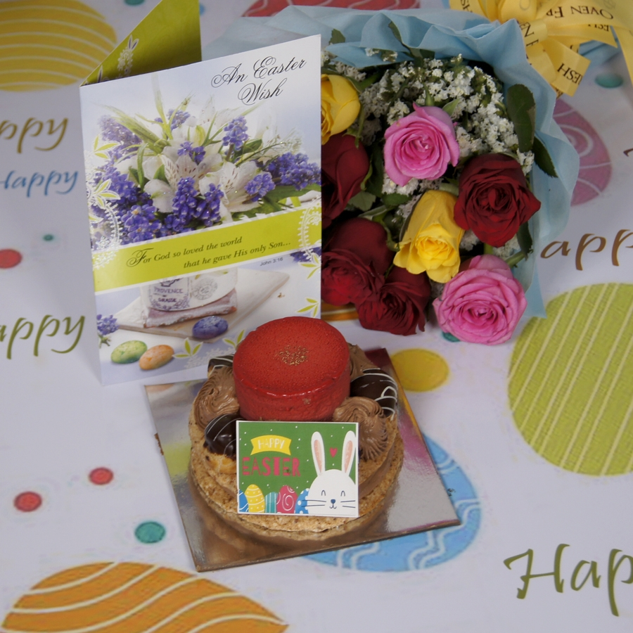 Easter Desire 3(Contains Egg) 250gms with card & bouquet of 10 mix roses