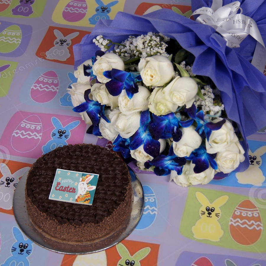 Easter Dutch truffle classic cake 500gms & bouquet of white roses and blue orchids