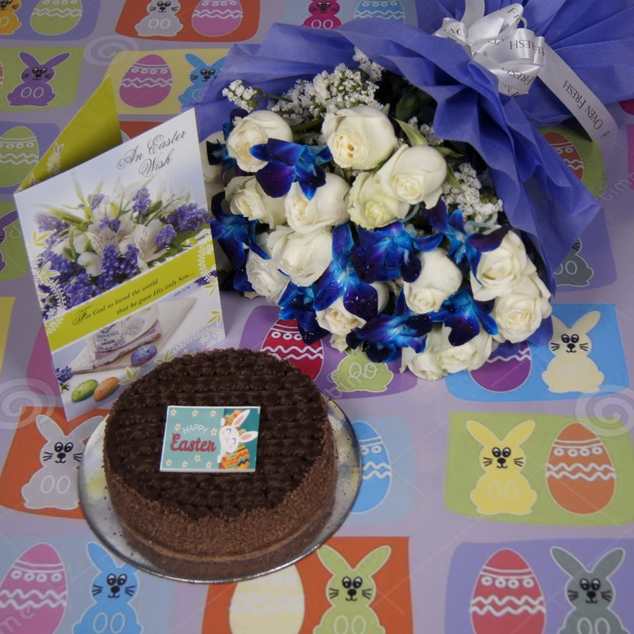 Easter Dutch truffle classic cake 500gms with card & bouquet of white roses and blue orchids