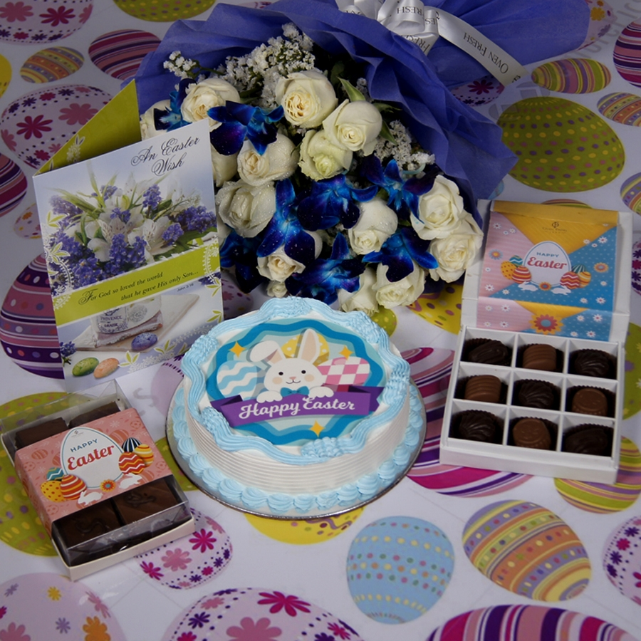 Easter photo cake blue with Card & bouquet of  white roses and blue orchids & box of 9 chocolate pralines & box of 6pc brownies