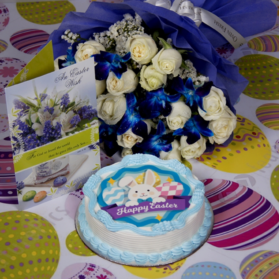 Easter photo cake blue with Card & bouquet of  white roses and blue orchids